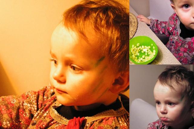 tutaj moje dziecko ma zieloną twarz bo było z przedszkolem na wycieczce w Ecotropicanie gdzie ich pani tak pomalowała:-)